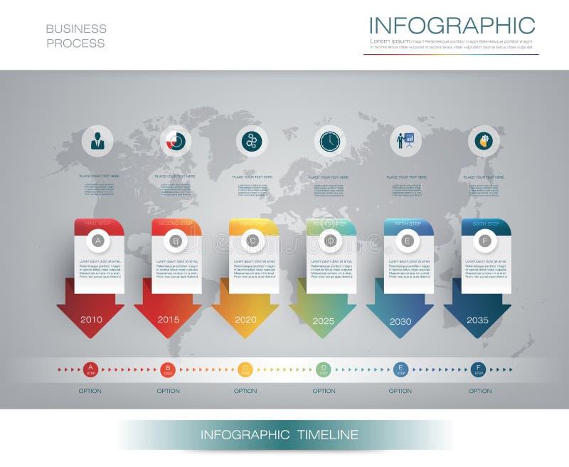 Wektorowy infographics linii czasu projekta szablon z 3D papieru etykietką 6 i wykresem kroczy opcje royalty ilustracja