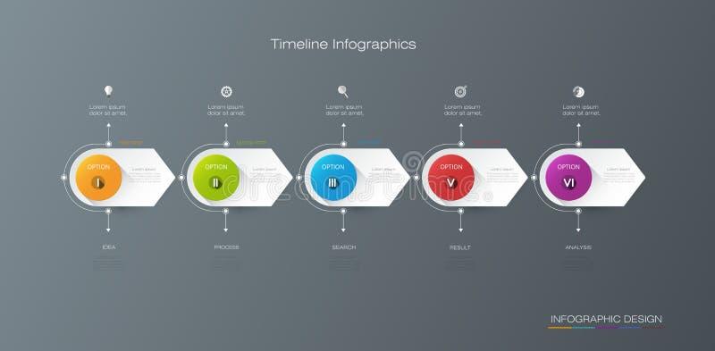 Wektorowy infographics linii czasu projekta szablon z etykietka projektem ilustracji