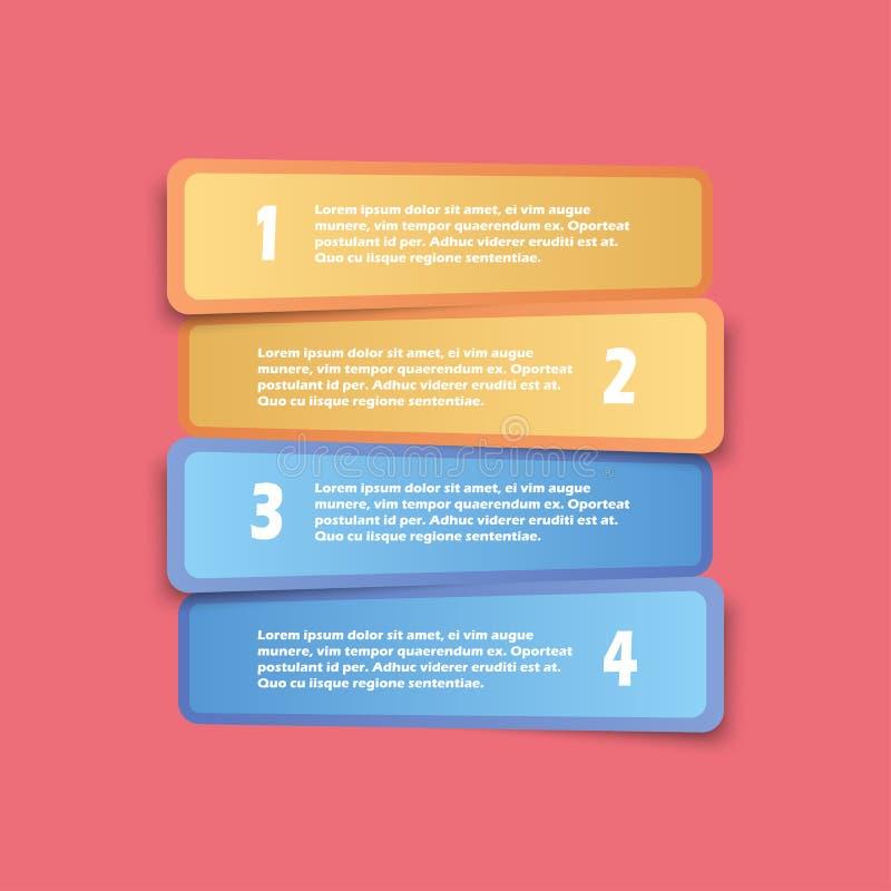 Wektorowy Infographics opcj sztandar, Pastelowego koloru Zaokrąglony prostokąt ilustracja wektor