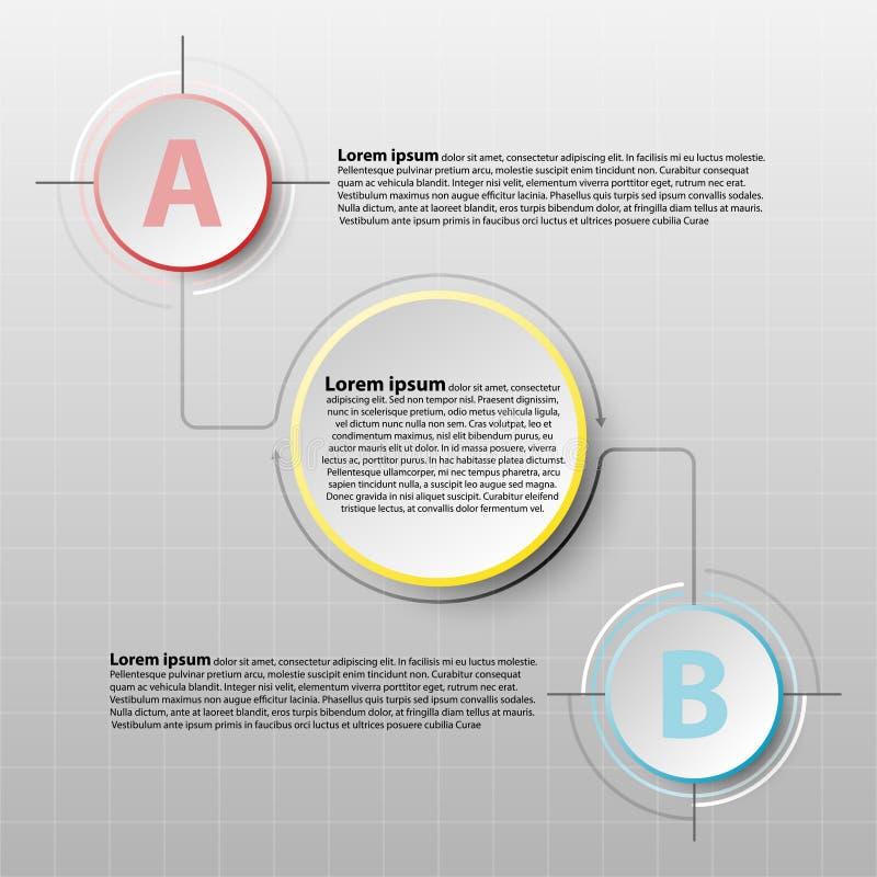 Wektorowy infographics projekta szablon z 3D okręgu papieru znakiem dla zadowolonego biznesowego infographic pojęcie graficznego  ilustracji