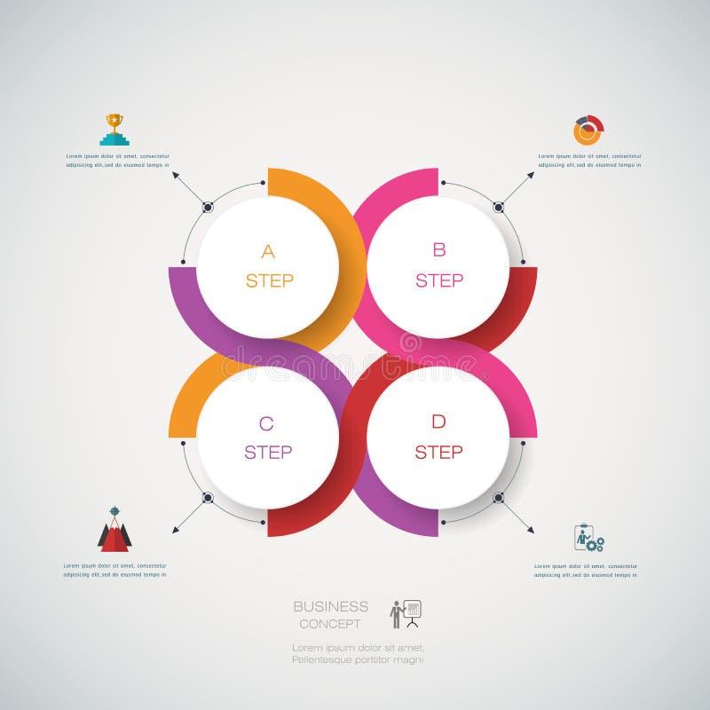 Wektorowy infographics projekta szablon z 3D papieru etykietką royalty ilustracja