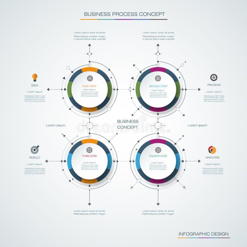 Wektorowy infographics projekta szablon z etykietek ikony, projektem, 4 opcje lub kroki i, ilustracja wektor