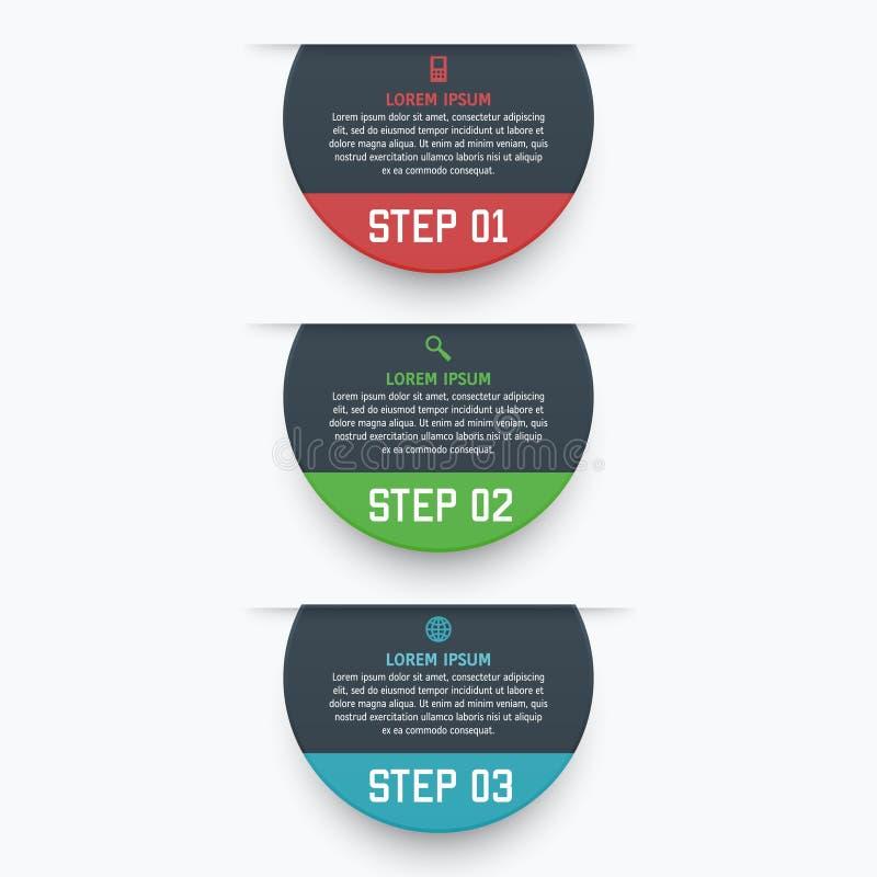 Wektorowy infographics szablon z trzy opcjami w materialnym projekta stylu Ja może używać jako mapa, licząca sztandar ilustracji