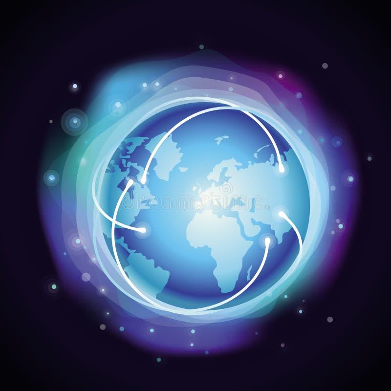 Wektorowy interneta pojęcie - rozjarzona kula ziemska royalty ilustracja