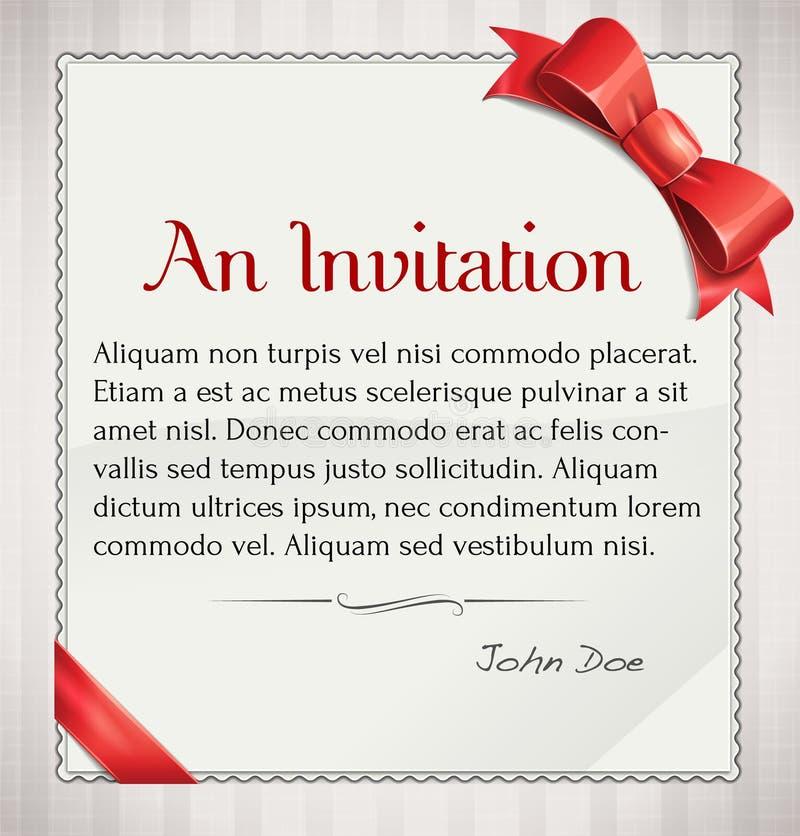 Invitaion Z Czerwonym łękiem I faborkiem ilustracji