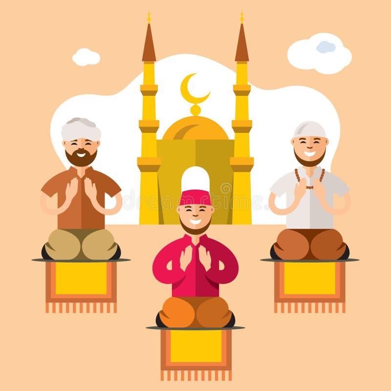 wektorowy islam Islamskie modlitwy Mieszkanie stylowa kolorowa kreskówka ilustracji