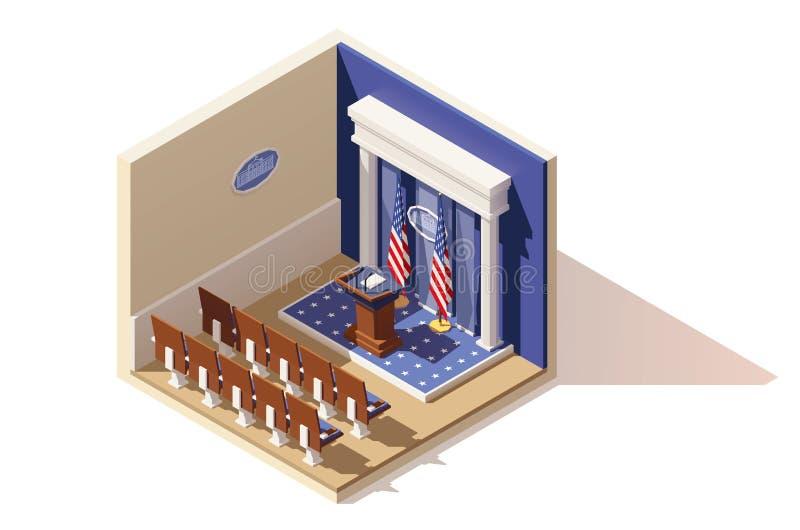 Wektorowy isometric bielu domu odprawy pokój royalty ilustracja