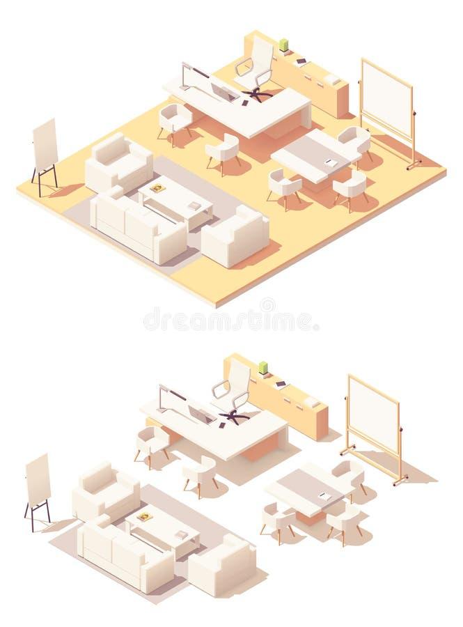 Wektorowy isometric biura wykonawczego wnętrze royalty ilustracja