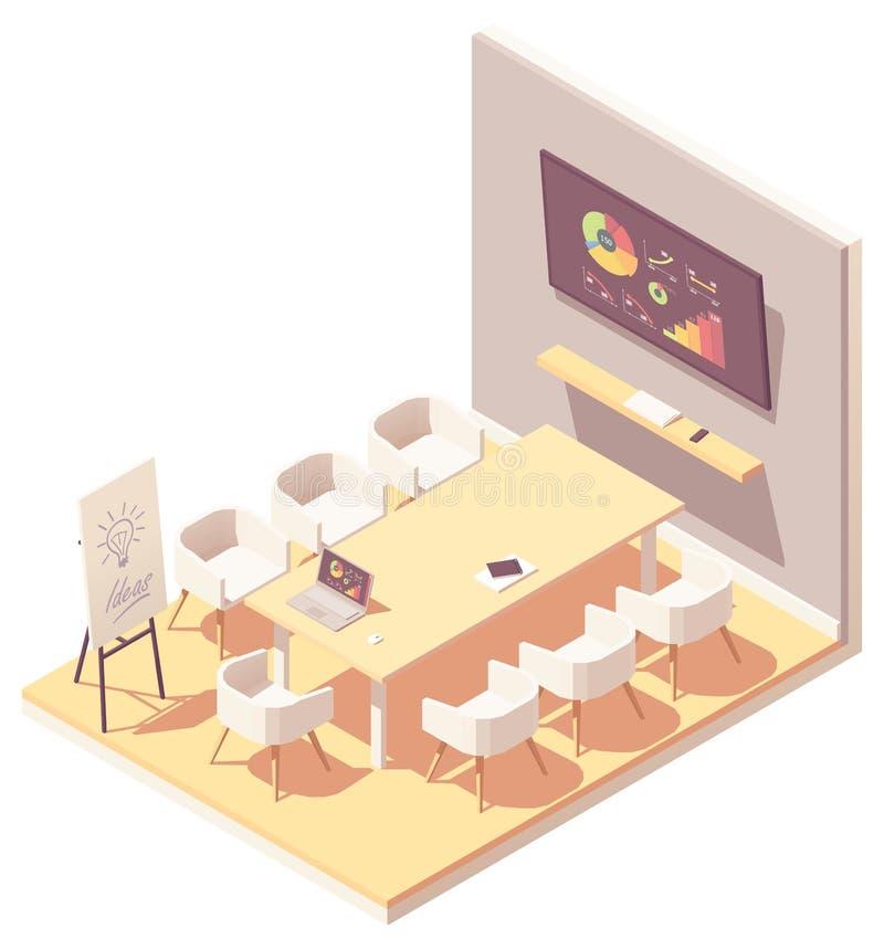 Wektorowy isometric biurowy pokoju konferencyjnego wnętrze ilustracji