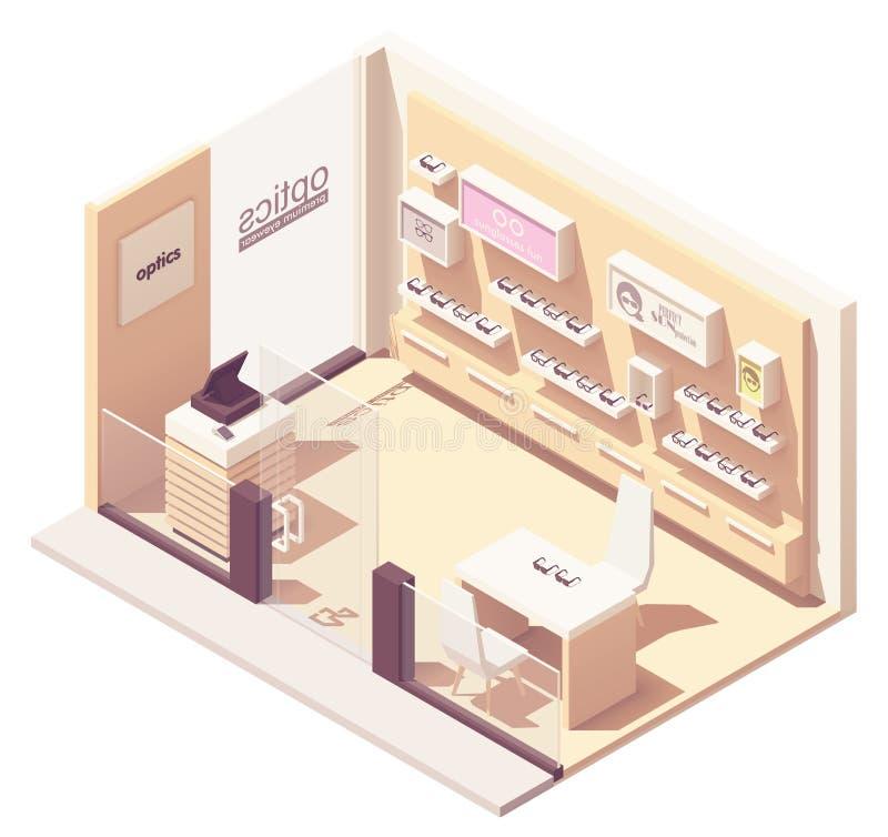 Wektorowy isometric eyewear sklep ilustracja wektor