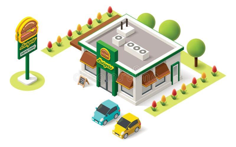 Wektorowy isometric fast food ilustracja wektor