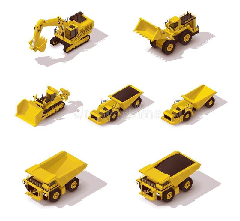 Wektorowy isometric górniczej maszynerii set royalty ilustracja