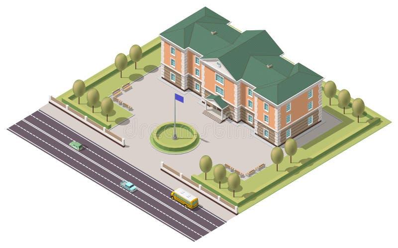 Wektorowy isometric infographic elementu lub uniwersyteta budynek Płaska ilustracja na białym tle ilustracji