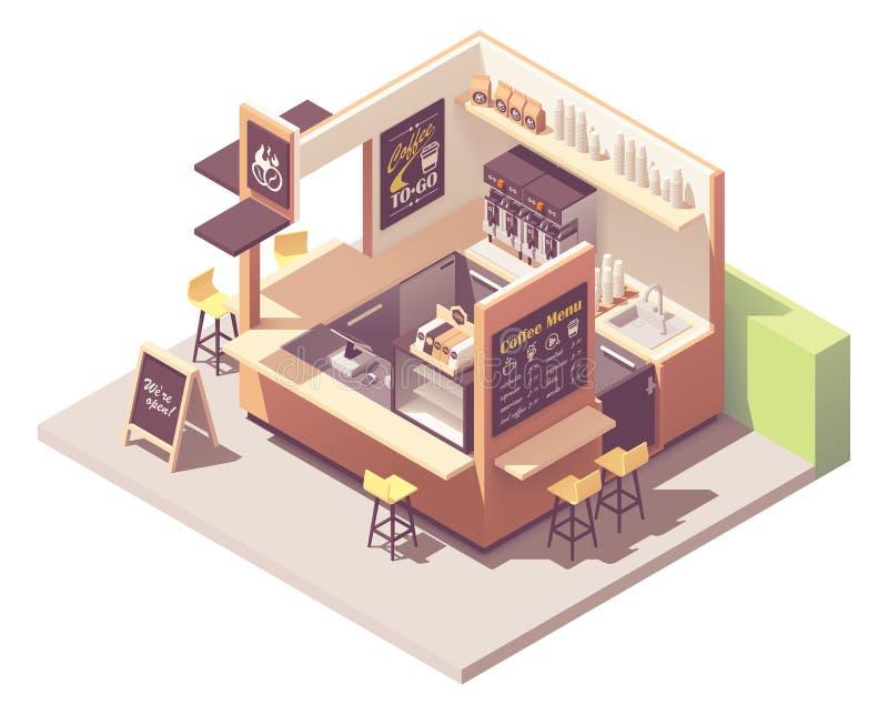 Wektorowy isometric kawowy kiosk ilustracji