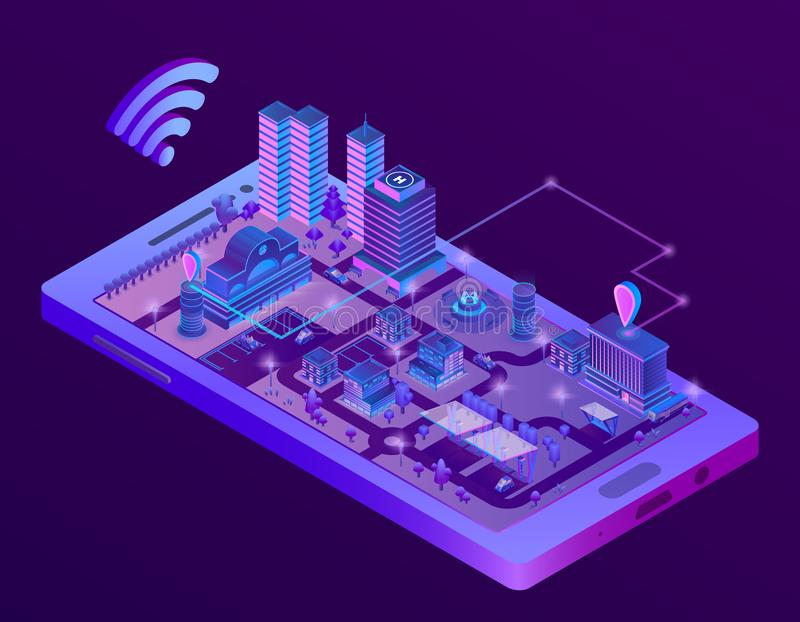 Wektorowy isometric mądrze miasto na smartphone ekranie ilustracja wektor