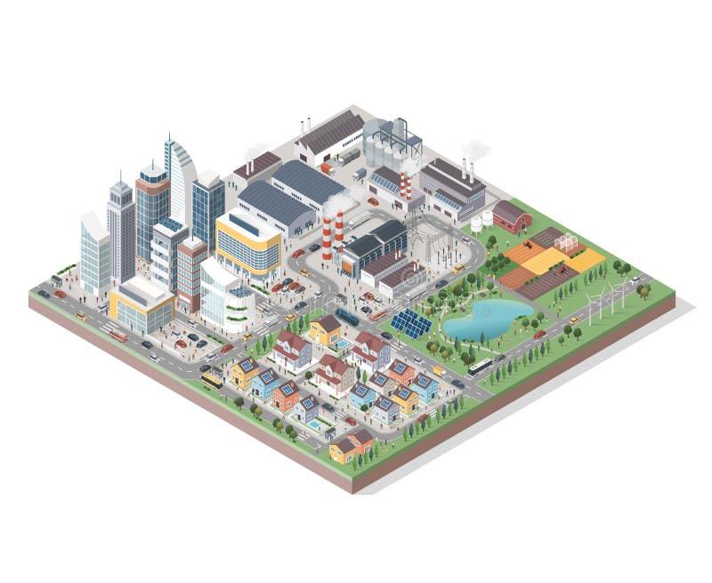 Wektorowy isometric miasto z budynkami, ludźmi i pojazdami, ilustracji