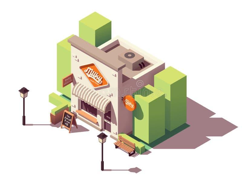 Wektorowy isometric mleko sklep ilustracja wektor