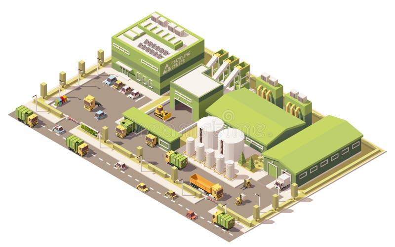 Wektorowy isometric niski poli- śmieciarski przetwarza centrum royalty ilustracja