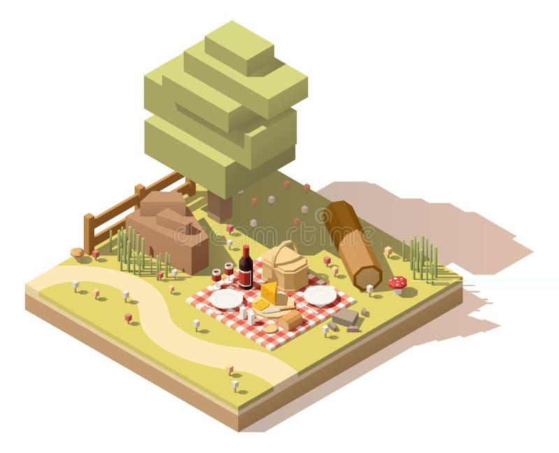 Wektorowy isometric niski poli- campsite royalty ilustracja