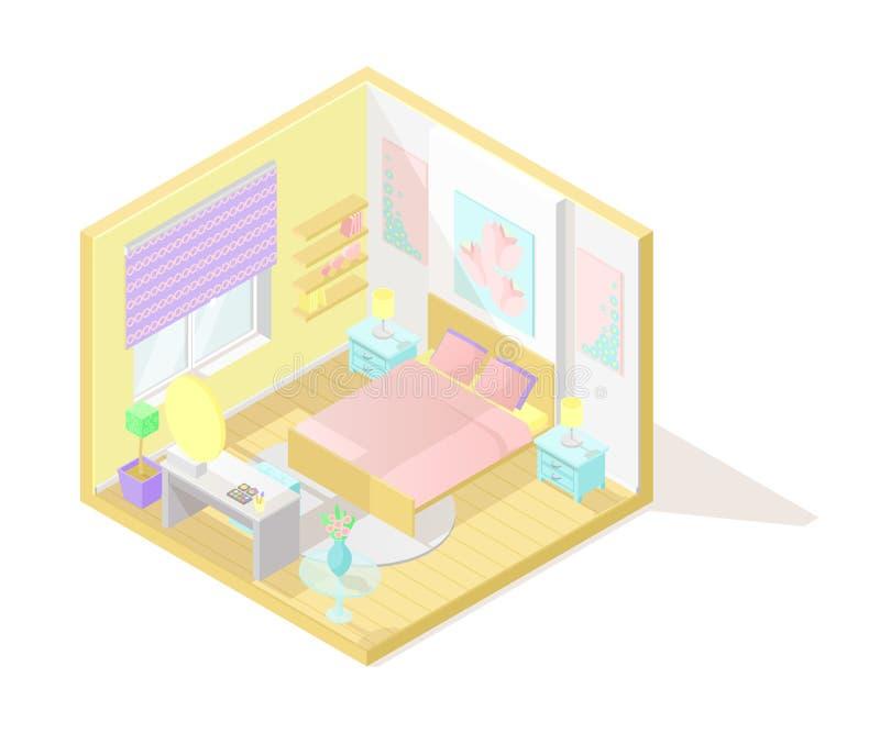 Wektorowy isometric niski poli- cutaway wnętrza illustartion sypialnia royalty ilustracja