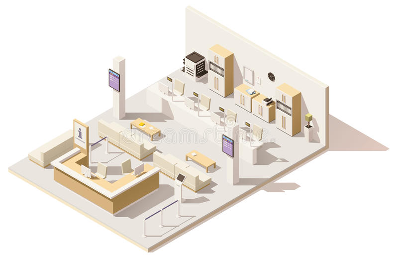 Wektorowy isometric niski poli- kolejka system zarządzania ilustracji