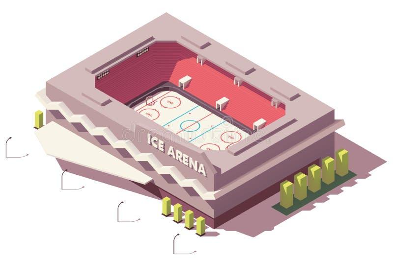 Wektorowy isometric niski poli- lodowego hokeja lodowisko royalty ilustracja