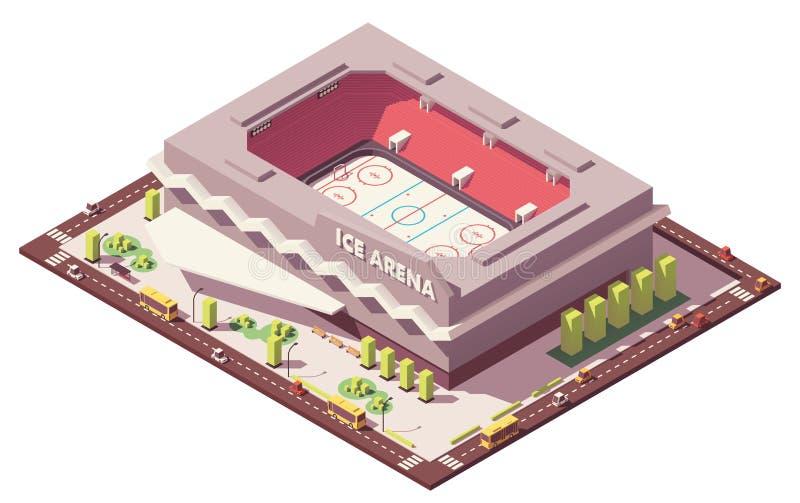 Wektorowy isometric niski poli- lodowego hokeja lodowisko ilustracji