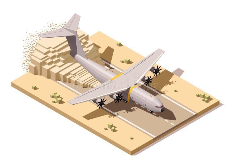 Wektorowy isometric niski poli- pustynny lądowisko z humanitarystą ilustracja wektor