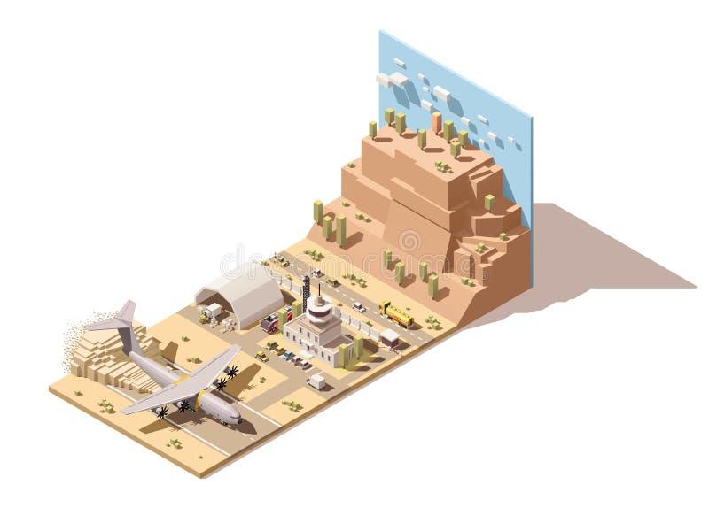 Wektorowy isometric niski poli- pustynny lotniskowy śmiertelnie budynek i wieża kontrolna ilustracja wektor