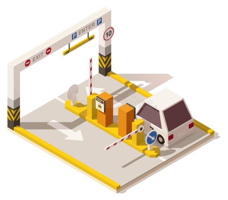 Wektorowy isometric niski poli- samochodowy parking wejście royalty ilustracja