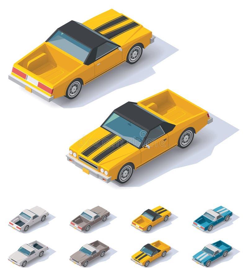 Wektorowy isometric oszczędnościowy coupe samochód ilustracji