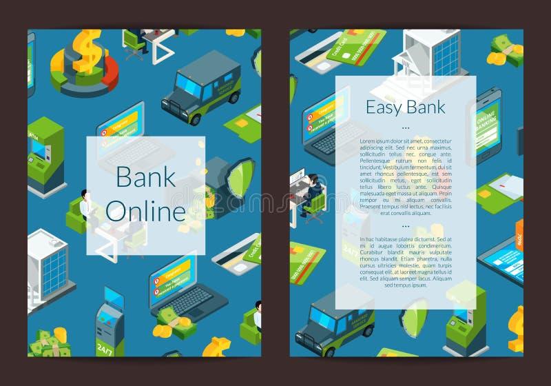 Wektorowy isometric pieniądze przepływ w bank ikon karcie ilustracji