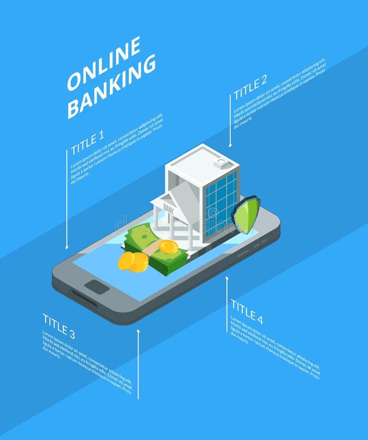 Wektorowy isometric pieniądze przepływ w bank ikon pojęcia infographic ilustraci royalty ilustracja