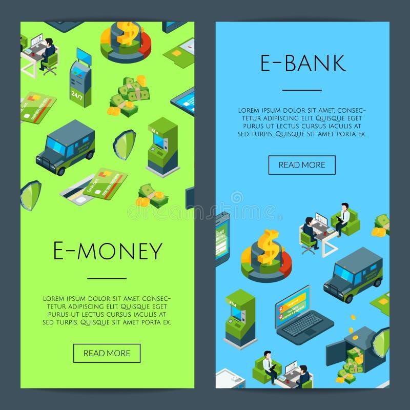Wektorowy isometric pieniądze przepływ w bank ikonach ilustracji