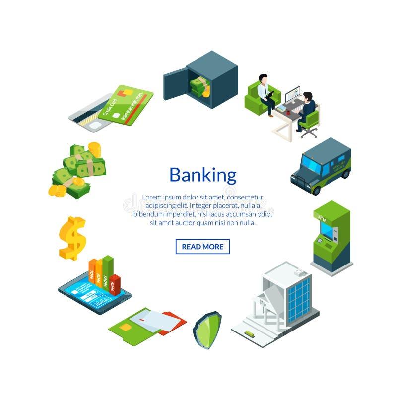 Wektorowy isometric pieniądze przepływ w bank ikonach ilustracyjnych ilustracji