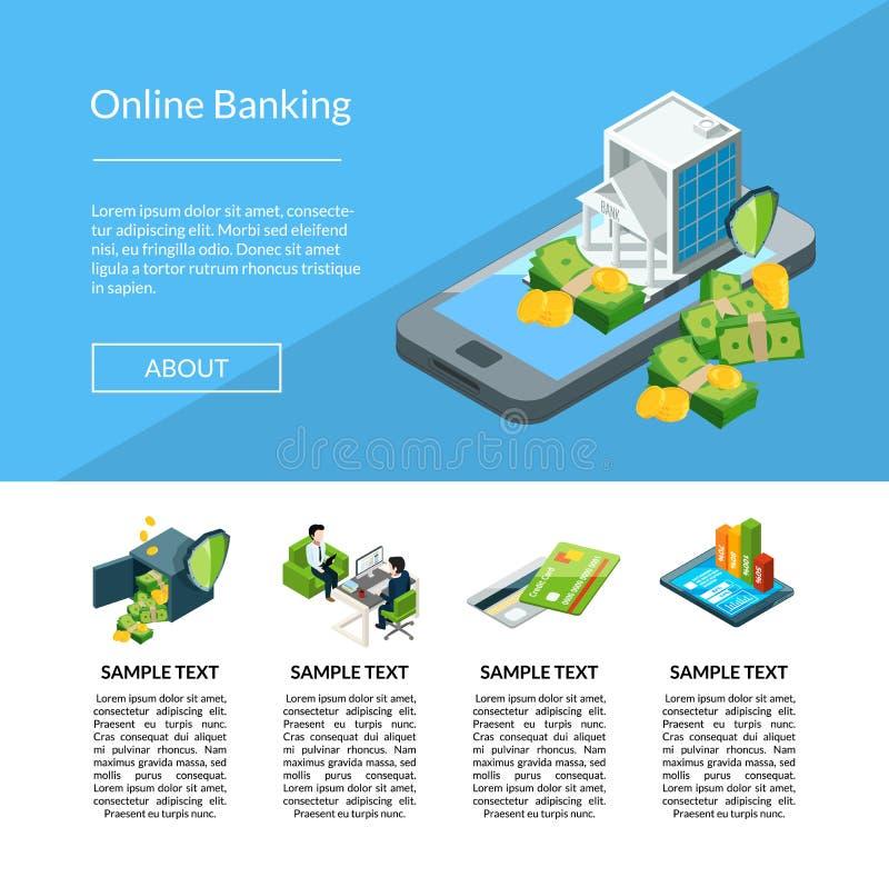 Wektorowy isometric pieniądze przepływ w bank ikonach ląduje strona szablonu ilustrację royalty ilustracja
