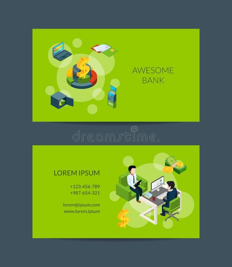 Wektorowy isometric pieniądze przepływ w bank wizytówce dla banka lub finanse lokaty ilustracji