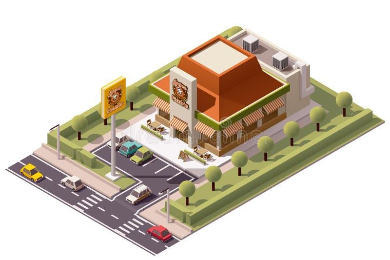 Wektorowy isometric pizzeria ilustracji