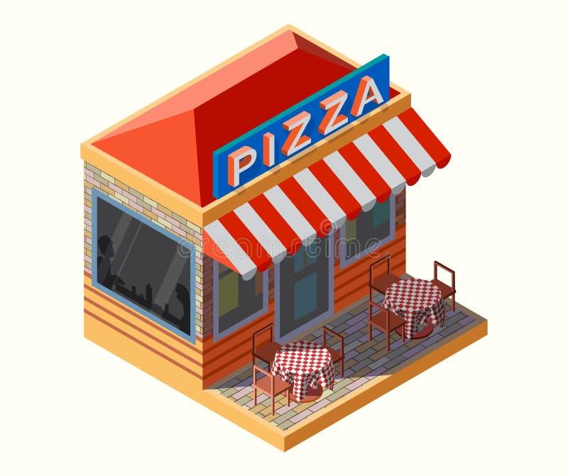 Wektorowy Isometric pizzy miejsce ilustracja wektor