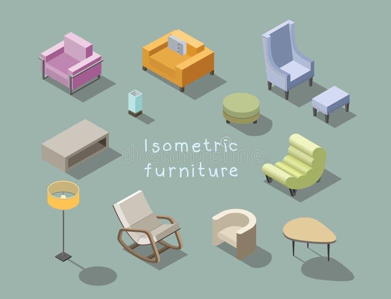 Wektorowy isometric set nowożytny żywy izbowy meble, domowy konstruktor ilustracja wektor