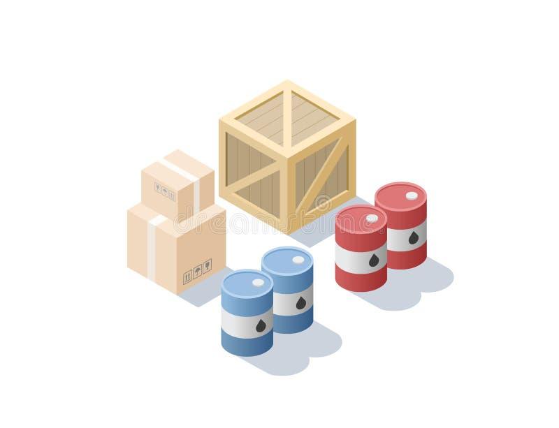 Wektorowy isometric set różny ładunek, błękit i czerwone nafciane baryłki, karton boksuje royalty ilustracja