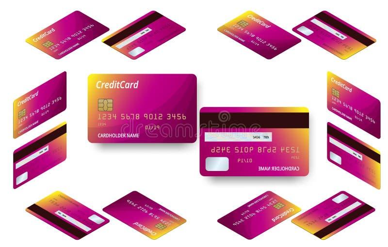 Wektorowy isometric set szablony kredytowych kart projekt Plastikowa kredytowa karta lub karta debetowa ilustracja wektor