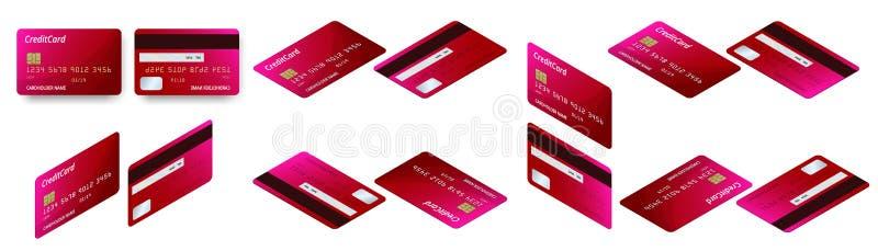 Wektorowy isometric set szablony kredytowych kart projekt Plastikowa kredytowa karta lub karta debetowa ilustracji