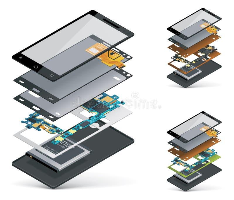 Wektorowy isometric smartphone cutaway ilustracja wektor