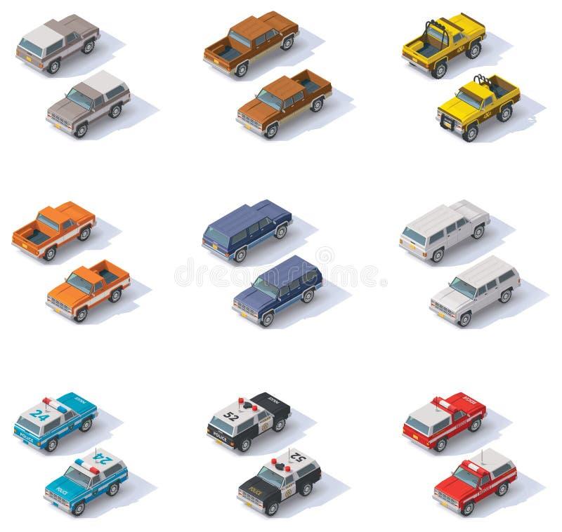 Wektorowy isometric SUVs set ilustracji