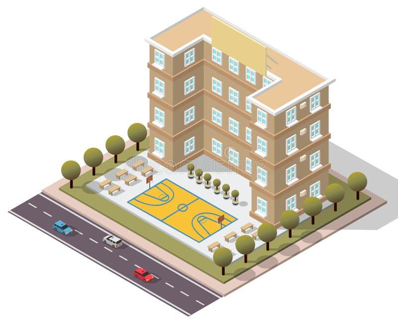 Wektorowy Isometric Szkolny uniwersytet ilustracja wektor