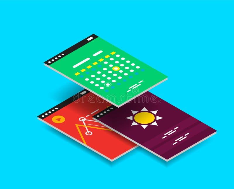 Wektorowy isometric wiszącej ozdoby app ui projekta pojęcie royalty ilustracja