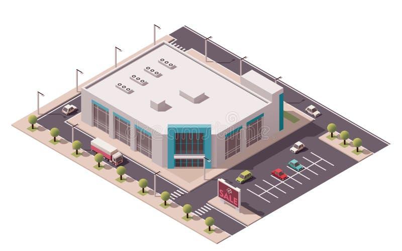 Wektorowy isometric zakupy centrum handlowe ilustracji