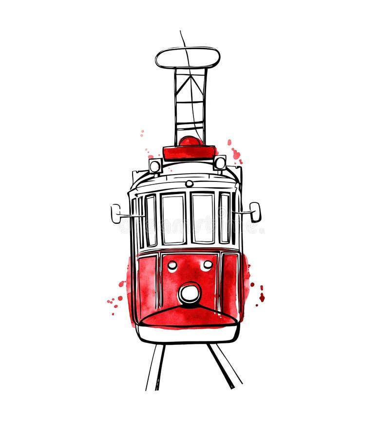 Wektorowy Istanbuł tramwaj z czerwonymi plamami ilustracji