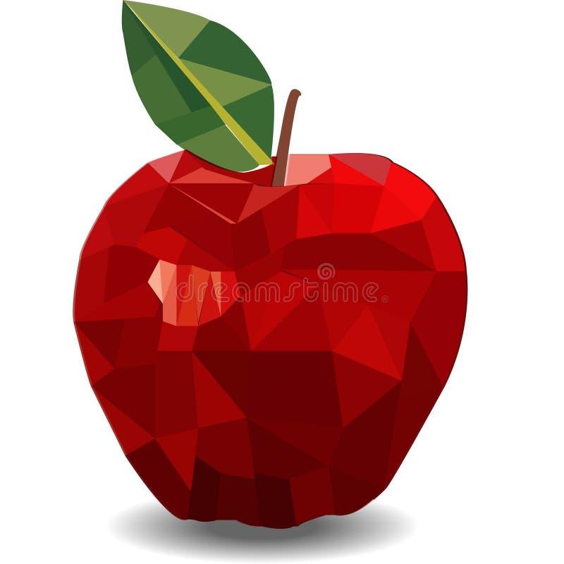 Wektorowy jabłko, abstrakcja Wciąż życie od owoc trójbok, znak, symbol, ilustracja, geometryczna, projekt, kolor, czerwień, abst royalty ilustracja